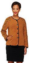 Bob Mackie Bob Mackie's Button Front Fleece Jacket with Sleeve Embroidery