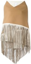 Agnona fringed wide scarf - women - Wool/Lamb Skin - One Size