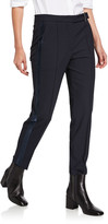 Brunello Cucinelli Satin Tuxedo-Striped Slim-Leg Pants