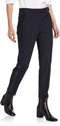 Brunello Cucinelli Satin Tuxedo-Striped Slim-Leg Pants