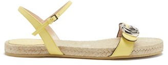 Gucci Aitana Leather And Jute Sandals - Yellow