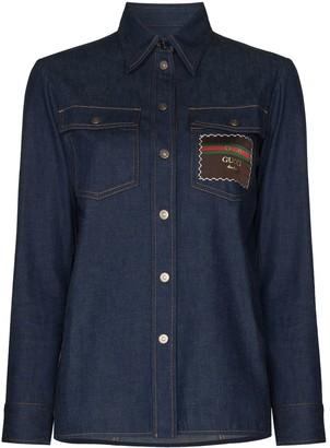 Gucci Boutique logo-patch denim shirt