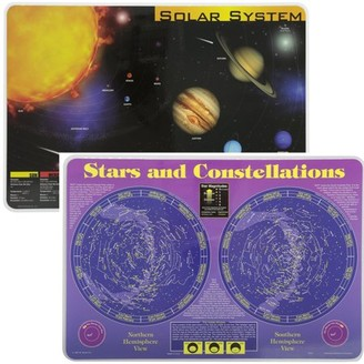 Painless Learning Educational Placemats Sets Solar System and Stars and Constellations Placemat Non Slip Washable