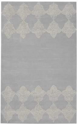 Pottery Barn Teen Moroccan Tile Border Rug, 3'x5', Light Gray