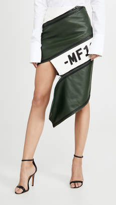Monse Asymmetrical Leather Zip Miniskirt