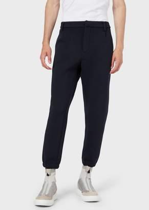 Emporio Armani Micro-Pattern Chino Trousers With Elasticated Cuffs