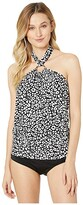 MICHAEL Michael Kors Animal Blend MK Logo Ring Tie Neck Blouson Tankini Top (Black Multi) Women's Swimwear
