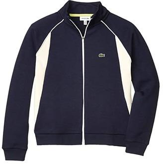 Lacoste Kids Fleece Athleisure Sweatshirt (Toddler/Little Kids/Big Kids) (Navy Blue/Lapland) Boy's Clothing