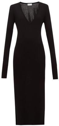 Raey Deep-v Fine-rib Cashmere Dress - Womens - Black