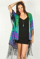 Reverse Bold Tribal Cardigan Kimono -