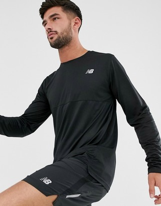 New Balance Running accelerate color block long sleeve top in black
