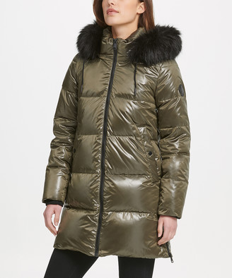 DKNY Women's Puffer Coats LDN:LODEN - Loden Cire Faux Fur-Trim Hooded Longline Puffer Coat - Women & Petite