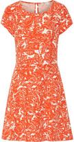 Joie Eley cutout printed silk and linen-blend dress