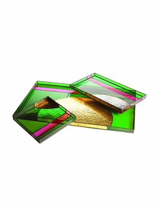 Dragonfly Sunset Trays, Green