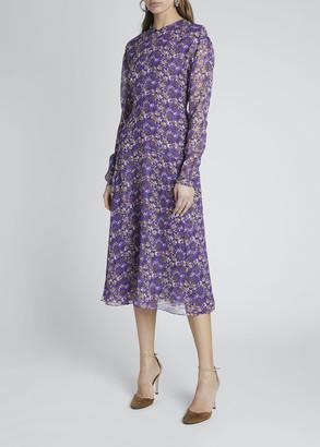 Victoria Beckham Floral Crewneck A-Line Dress