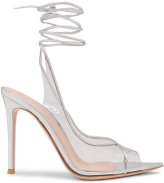 Gianvito Rossi Plexi Nappa Silk Strappy Heels in Trasp & Silver | FWRD