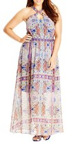 City Chic Plus Size Women's 'Peacock Tile' Print Cross Neck Maxi Dress