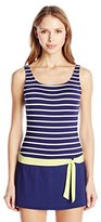 Jag Women's Fisher Island Stripe Skirted One-Piece Swimsuit