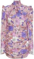 Magda Butrym Neck Tie Floral Mini Dress