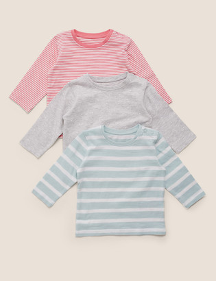 Marks and Spencer 3 Pack Spotted & Striped Tops (0-3 Yrs)