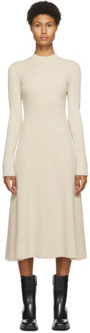 Victoria Beckham Off-White Textured Rib Flare Dress