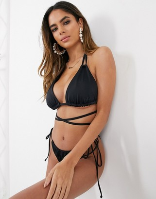 Asos Design DESIGN recycled fuller bust mix and match sleek triangle multiway bikini top in black dd-g
