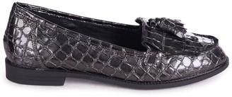Linzi ROSEMARY - Grey Croc Patent Leather Classic Slip On Loafer