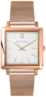Larsson & Jennings LJXII Norse Milanese 34mm Rose Gold Satin-White