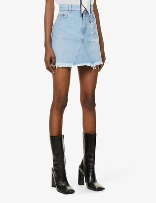 Givenchy Logo-print high-waist denim mini skirt