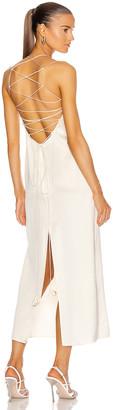 Magda Butrym Lace Up Back Slip Dress in Cream | FWRD