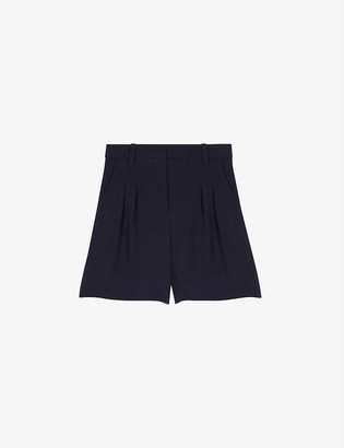 Maje Pleated satin-backed crepe shorts