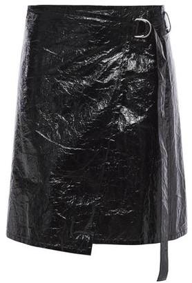 Helmut Lang Crinkled Coated Canvas Mini Wrap Skirt