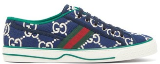 Gucci 1977 Gg-jacquard Web-stripe Trainers - Blue Multi