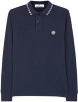 Stone Island Dark Blue Cotton Blend Polo Shirt