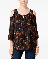 NY Collection Petite Printed Cold-Shoulder Top