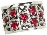 King Baby Studio Heart Patterned Ring with Garnet Stones Ring