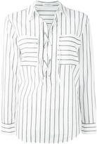 Equipment lace-up neck striped shirt - women - Cotton - M