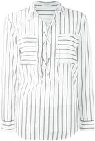 Equipment lace-up neck striped shirt - women - Cotton - XS