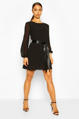 boohoo Crochet Lace Hem Belted Shift Dress