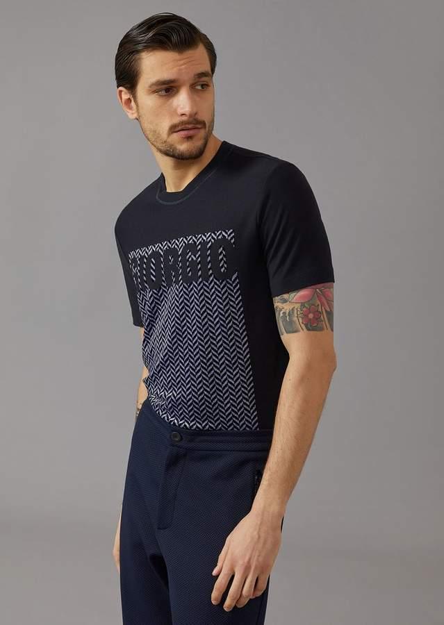 Giorgio Armani Jersey T-Shirt With Chenille Jacquard Embroidery