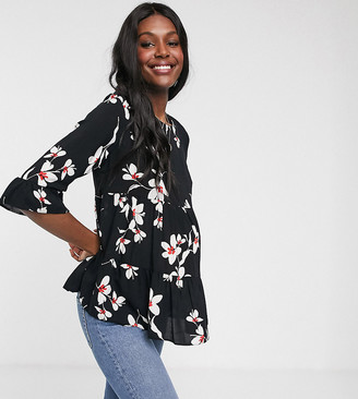New Look Maternity smock blouse in black floral
