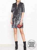 Marc Jacobs Zip Front Velvet Shift Dress