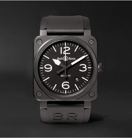 Bell & Ross Br 03-92 42mm Ceramic And Rubber Watch