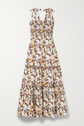 Tory Burch - Shirred Tiered Floral-print Cotton-blend Poplin Midi Dress - Brown