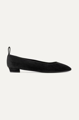 The Row Lady D Suede Ballet Flats - Black