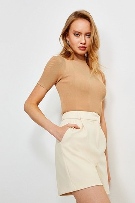 Karen Millen Short Sleeve Rivet Detail Rib Knitted Top