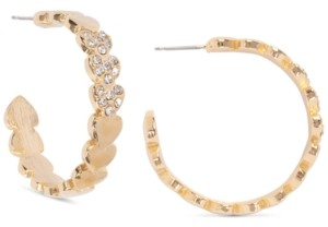 """Charter Club Holiday Lane Gold-Tone Medium Pave Heart C-Hoop Earrings, 1.25"""", Created for Macy's"""