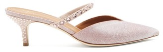 Malone Souliers Marla Crystal-embellished Lurex Mules - Womens - Light Pink