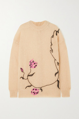 Marni - Floral-print Mohair-blend Sweater - Pastel pink