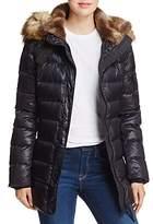 Aqua Faux Fur Trimmed Quilted Coat - 100% Exclusive